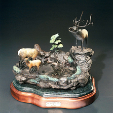 "Elk Bronze Sculpture ""The Watering Hole"" 
