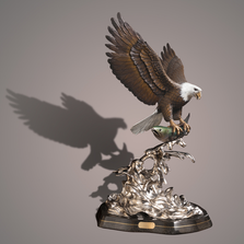 "Eagle Bronze Sculpture ""Evening Catch"" 