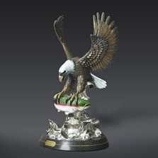 "Eagle Bronze Sculpture ""Morning Catch"" 