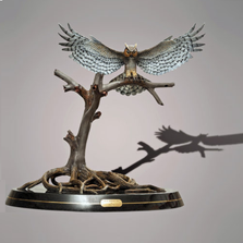 Great Horned Owl Bronze Sculpture  | Barry Stein | BBSHORNEDOWL