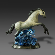 "Horse Bronze Sculpture ""Racing the Wind"" 