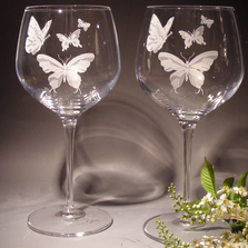 Butterfly Etched Crystal 18 oz Wine Glass Set of 2 | Evergreen Crystal | ECBFWG18