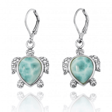 Sea Turtle Sterling Silver Larimar Drop Earrings | Beyond Silver Jewelry | NEA2793-LAR