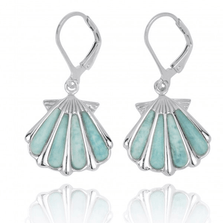 Shell Sterling Silver Larimar Drop Earrings | Beyond Silver Jewelry | NEA3254-LAR