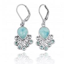 Octopus Sterling Silver Larimar Drop Earrings   Beyond Silver Jewelry   NEA2792-LAR