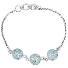 Starfish Sterling Silver Larimar Bracelet | Beyond Silver Jewelry | NB1457-LAR