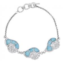 Nautilus Shell Sterling Silver Larimar Bracelet | Beyond Silver Jewelry | NB1455-LAR