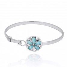 Sand Dollar Sterling Silver Larimar Bracelet | Beyond Silver Jewelry | NB1458-LAR
