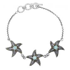 Starfish Trio Sterling Silver Larimar Bracelet | Beyond Silver Jewelry | NB1453-LAR