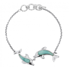 Dolphin Pair Sterling Silver Larimar Bracelet | Beyond Silver Jewelry | NB1438-LAR