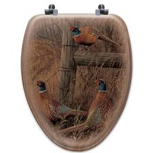 "Pheasants Oak Wood Elongated Toilet Seat ""Abandoned Fenceline"" | Wood Graphixs | WGIAF-E"