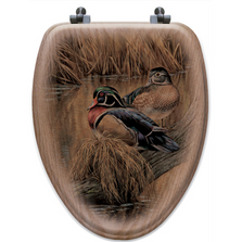 "Wood Duck Oak Wood Elongated Toilet Seat ""Back Waters"" 