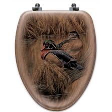 "Wood Duck Oak Wood Elongated Toilet Seat ""Back Waters""   Wood Graphixs   WGIBWWD-E"