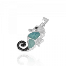 Seahorse Larimar and Black Spinel Pendant | Beyond Silver Jewelry | NP11309-LAR