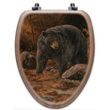 "Bear Oak Wood Elongated Toilet Seat ""Streamside"" 