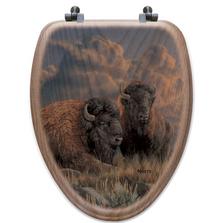 "Buffalo Oak Wood Elongated Toilet Seat ""Distant Thunder"" | Wood Graphixs | WGIDTB-E"