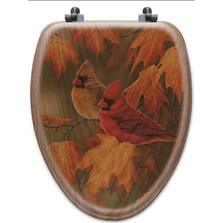 Cardinal Maple Leaves Oak Wood Elongated Toilet Seat | Wood Graphixs | WGIMLC-E