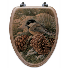 "Chickadee Oak Wood Elongated Toilet Seat ""December Dawn"" 