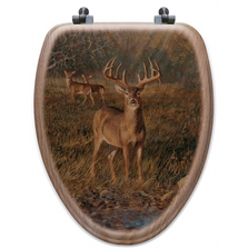 "Deer Oak Wood Elongated Toilet Seat ""First Light"" 