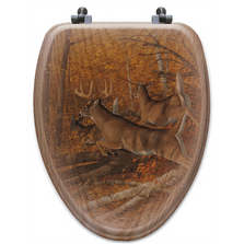 "Deer Oak Wood Elongated Toilet Seat ""Maple Rush"" 