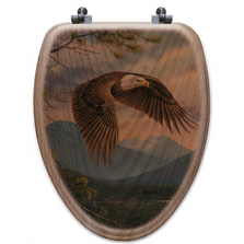 "Eagle Oak Wood Elongated Toilet Seat ""Majestic Moment"" 