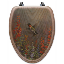 "Hummingbird Oak Wood Elongated Toilet Seat ""Summer Hummer"" 
