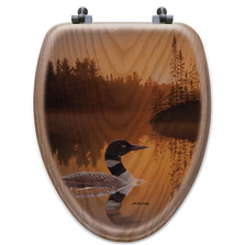 "Loon Oak Wood Elongated Toilet Seat ""Stone Island"" 