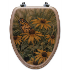 Monarch Butterfly Oak Wood Elongated Toilet Seat | Wood Graphixs | WGIMB-E-OAK