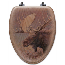 "Moose Oak Wood Elongated Toilet Seat ""Chocolate"" 
