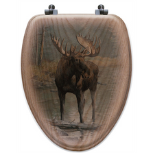 "Moose Oak Wood Elongated Toilet Seat ""Quiet Water"" | Wood Graphixs | WGIQWM-E"