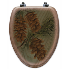 Pinecone Oak Wood Elongated Toilet Seat | Wood Graphixs | WGIPC-E