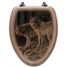 "Wolf Oak Wood Elongated Toilet Seat ""Shades of Gray"" 
