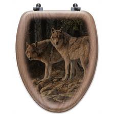 "Wolf Oak Wood Elongated Toilet Seat ""Shades of Gray"" | Wood Graphixs | WGISOG-E"