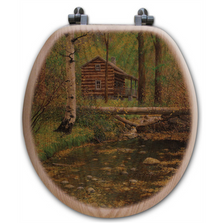 "Forest Cabin Oak Wood Round Toilet Seat ""Autumn Hideaway"" 
