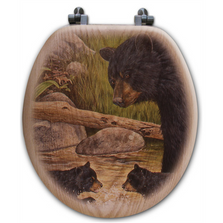 Bear Creek Gang Oak Wood Round Toilet Seat | Wood Graphixs | WGIBCG-R