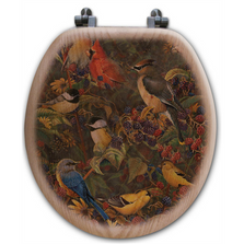"Birds Oak Wood Round Toilet Seat ""Berry Bush"" 