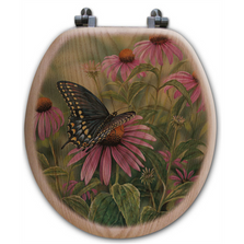 Black Swallow Tail Butterfly Oak Wood Round Toilet Seat | Wood Graphixs | WGIBSTB-R-OAK