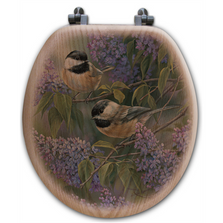 Chickadee and Lilac Oak Wood Round Toilet Seat   Wood Graphixs   WGICAL-R