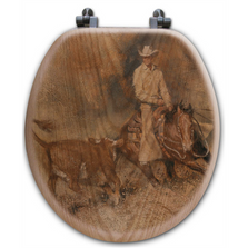 "Cowboy Oak Wood Round Toilet Seat ""First Go Around"" 