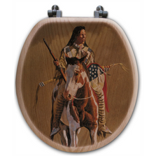 "Horse and Rider Oak Wood Round Toilet Seat ""Ghost of the Plains"" 