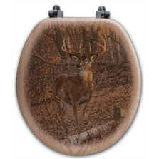 "Deer Oak Wood Round Toilet Seat ""Great Eight"" 