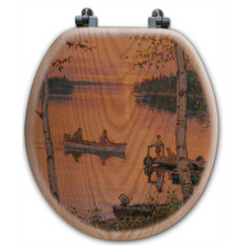 "Fishermen Oak Wood Round Toilet Seat ""Lakeland Sunset"" 