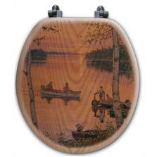 "Fishermen Oak Wood Round Toilet Seat ""Lakeland Sunset""   Wood Graphixs   WGIFLS-R"