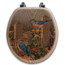 "Bluebird Oak Wood Round Toilet Seat ""Linda's Bluebirds"" 