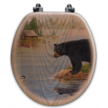 "Bear Oak Wood Round Toilet Seat ""Misty Morning Encounter"" 