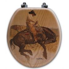 "Cowboy Oak Wood Round Toilet Seat ""Sun Fishin""   Wood Graphixs   WGICBSF-R"