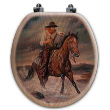 "Cowboy Oak Wood Round Toilet Seat ""The Crossing""   Wood Graphixs   WGICBTC-R"