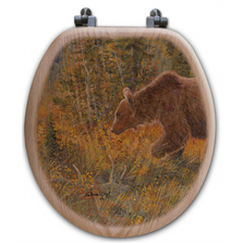 "Bear Oak Wood Round Toilet Seat ""The Grizzly Walk"" 