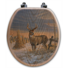 "Deer Oak Wood Round Toilet Seat ""Whitetail in Winter"" 