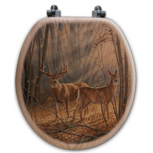 "Deer Oak Wood Round Toilet Seat ""Woodland Splendor"" 